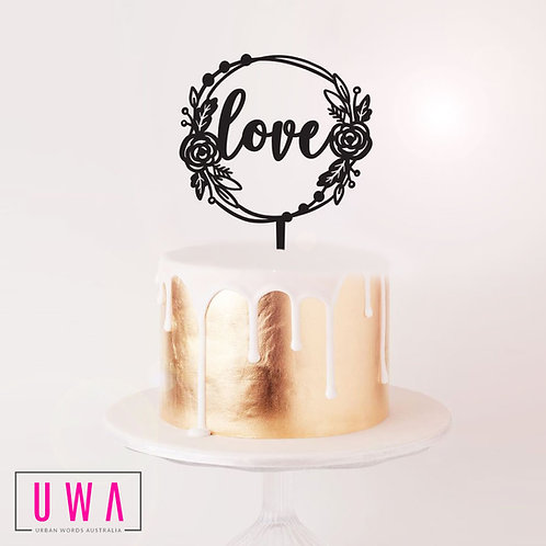 Love Rose Wreath - Cake Topper
