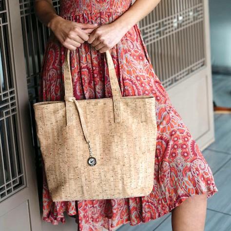 vegan leather cork tote bag