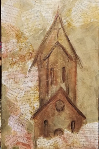 "Mixed Media ""Church of Praise"" by Peggy Aldredge"