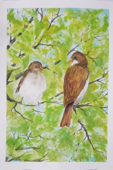 """A Couple Sparrows"" by Peggy Aldredge"