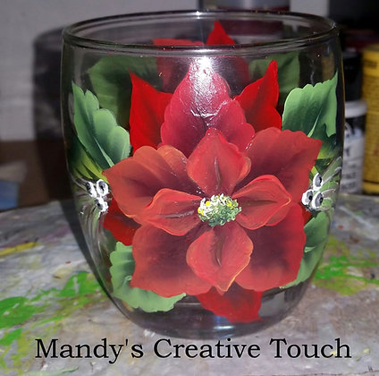 Poinsetta Candle Glass/ Holder