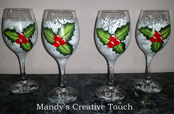 Water Glasses - Holly berries - set of 4