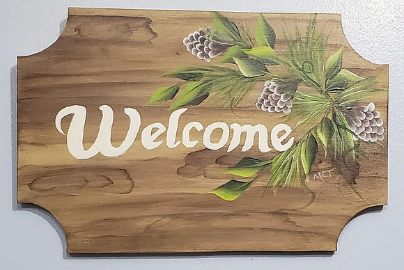 Welcome Sign - Faux Wood Paint Project