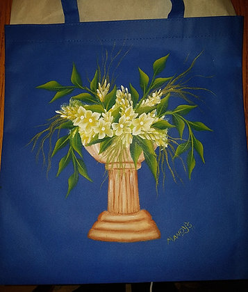 Shopping Bag - Blue Flower pot