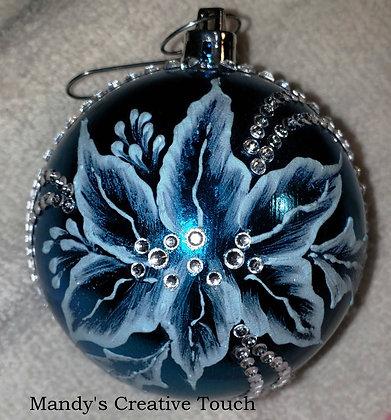 Blue Ornament - Pointsetta