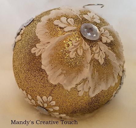 Gold multi coloured Gem Poinsettia Ornament