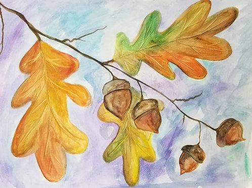 """""""Acorns and Oak Leaves"""" by Peggy Aldredge"""