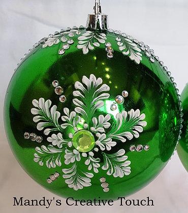 Large Green Snowflake Ornaments