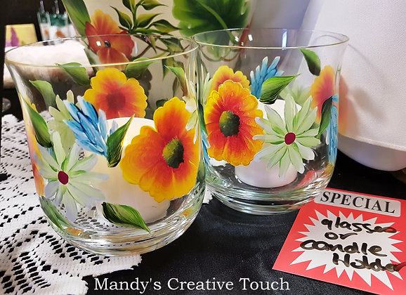 Tropical Glass or Candle Holder set