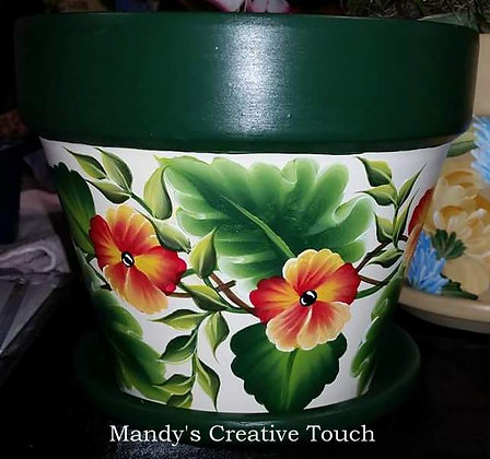 Green and white Flower Pot