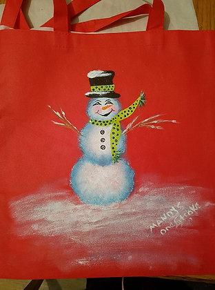 Shopping Bag - Red Snowman