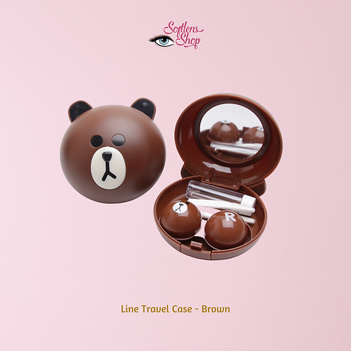 BROWN CONTACT LENS TRAVEL CASE