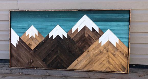 Mountain Mosaic - Teal Sky