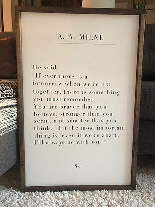 Quote from Winnie The Pooh book by A. A. Milne Quote Sign