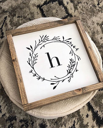 Monogrammed Wreath Wood Sign
