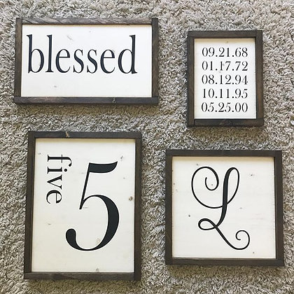 "Set of 4 ""Family Stats"" Signs"