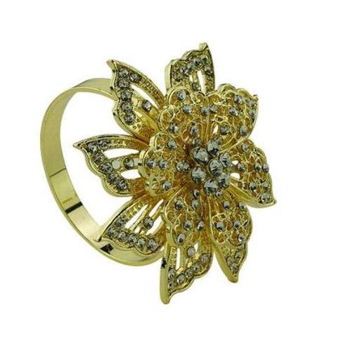 Anel p/ Guardanapo de Zinco Flor Dourada