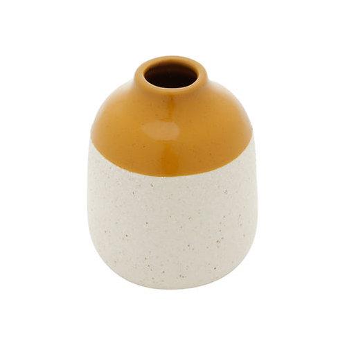 Vaso Decorativo Cerâmica Branco e Amarelo 10x12cm