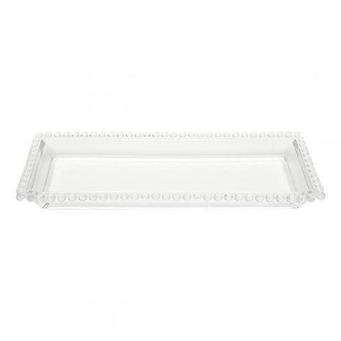 Travessa Cristal Transparente Bolinhas Pearl 30x13cm - Wolff