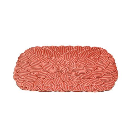 Travessa de Porcelana Daisy Coral 36x23cm - Wolff