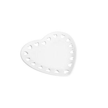 Travessa/Prato de Cerâmica Coração Branco 18cm - Lyor