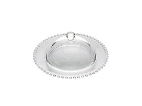 Queijeira de Cristal Bolinhas Pearl Transparente 20x9cm - Wolff