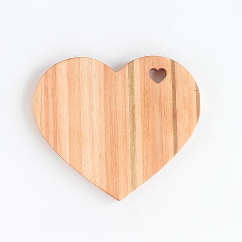 Tábua Coração em Madeira Teca 20cm