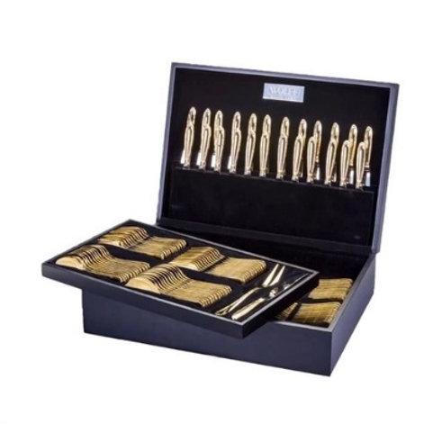 Faqueiro 130 Pçs em Aço Inox Dourado Croisé c/ Estojo de Madeira - Wolff