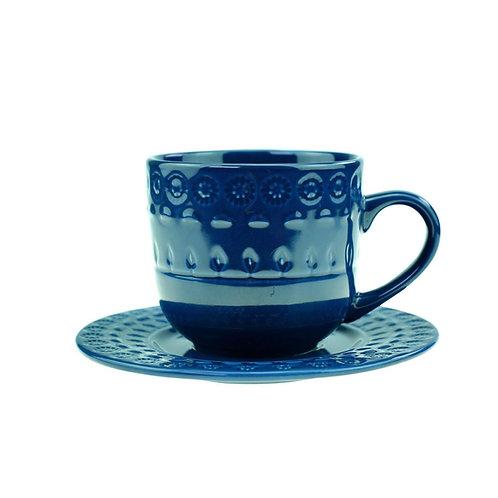 Xícara de Chá c/ Pires em Porcelana Grace Azul 250ml - Wolff