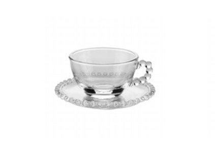 Xícara de Chá em Cristal Transparente c/ Pires Bolinhas Pearl 200ml - Wolff
