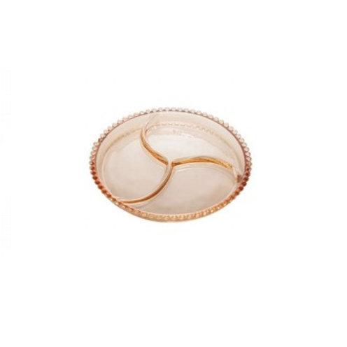 Petisqueira 3 Divisões de Cristal Âmbar Bolinhas Pearl 24cm - Wo