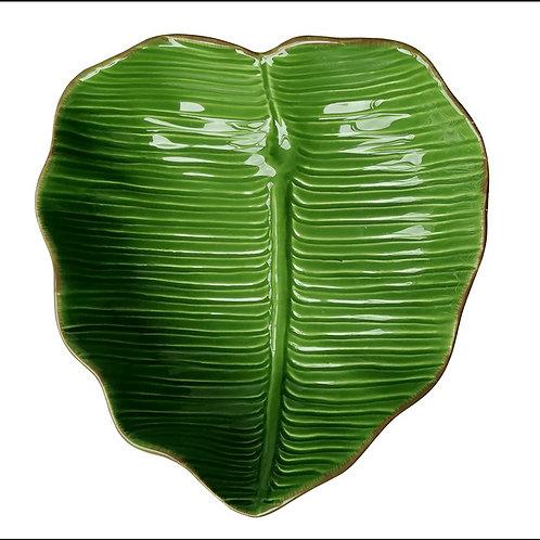 Prato Decorativo de Cerâmica Banana Leaf 23x22x6cm - Lyor