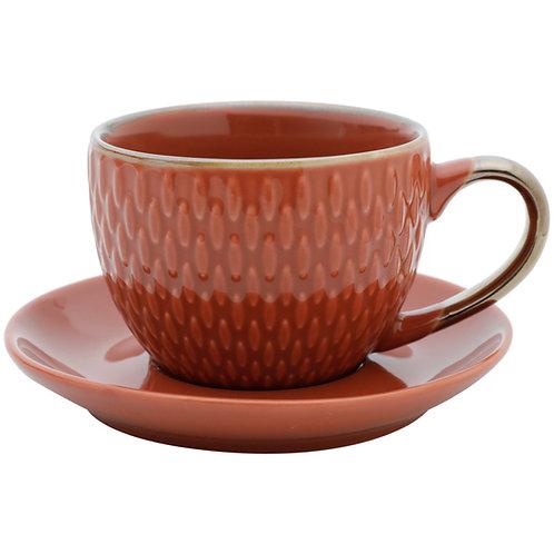 Conj. 4 Xícaras p/ Café c/ Pires Porcelana Drops Laranja 90ml