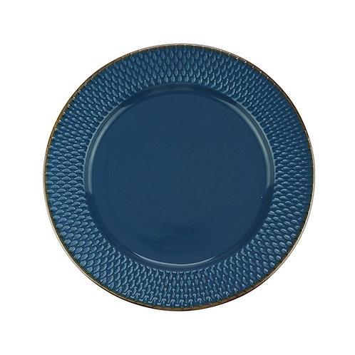 Prato Raso de Porcelana Drops Azul 27cm - Wolff
