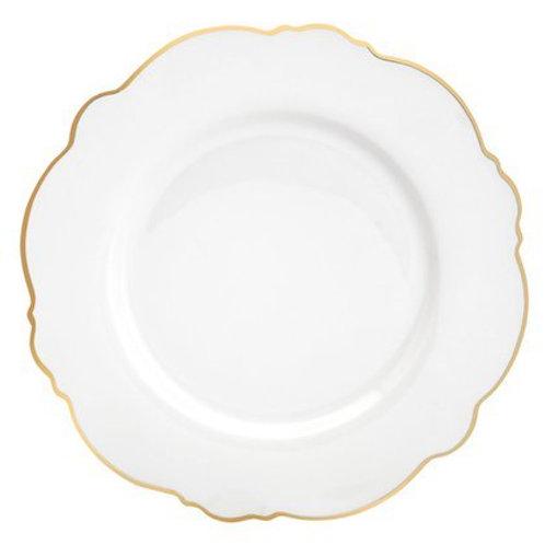 Prato Raso de Porcelana Maldivas Fio Dourado 28cm - Wolff