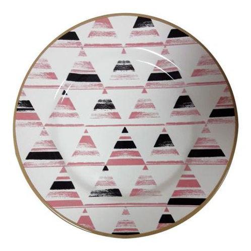 Prato Sobremesa em Cerâmica Geométrica 20,5cm - Alleanza