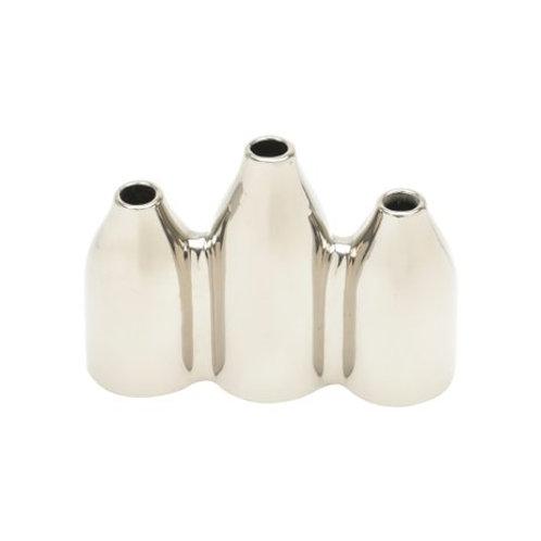 Vaso Decorativo Cerâmica Prateado 3 Pontas 17x6x12cm
