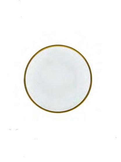 Prato Sobremesa de Cristal c/ Borda Dourada Linen 21cm