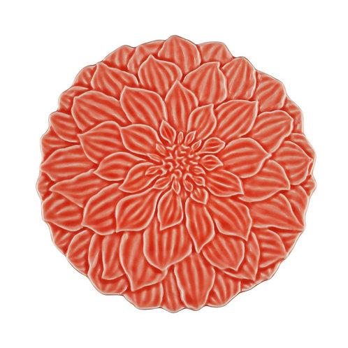 Prato Sobremesa em Porcelana Daisy Coral 19cm - Wolff