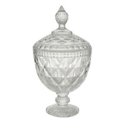 Potiche Decorativo de Cristal Diamond Transparente 15x23cm - Lyor