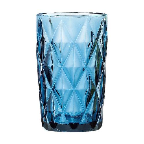 Copo Água de Vidro Diamond Azul 350ml - Lyor
