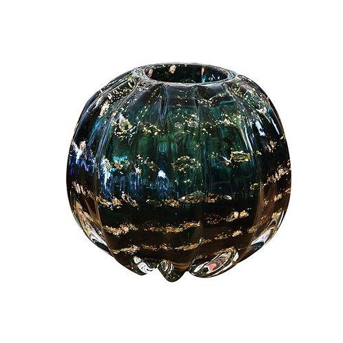 Esfera Murano Italy Verde Esmeralda e Dourado 12x10cm - Lyor