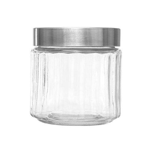 Pote de Vidro c/ Tampa de Aço Inox e Visor em Acrílico Sydney - Tamanhos
