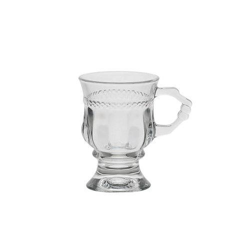Taça p/ Cappuccino c/ Alça e Pé de Cristal Diamante 142ml - Lyor