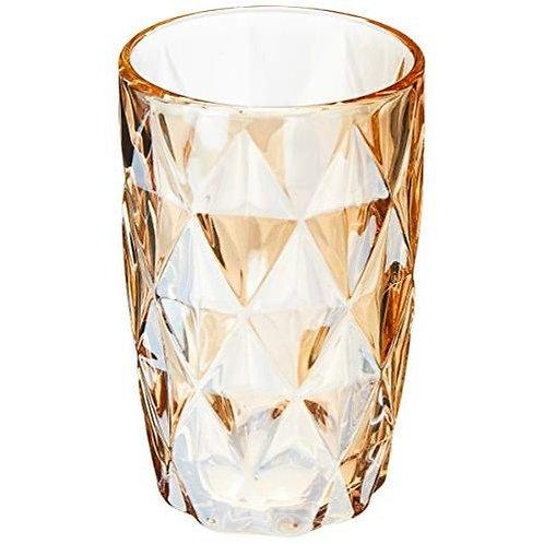 Copo Água de Vidro Diamond Âmbar Metalizado 350ml - Lyor