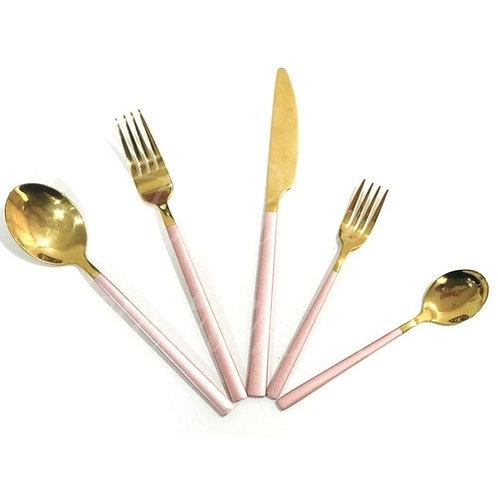 Conj. 5 Talheres em Aço Inox Dourado c/ Rosa