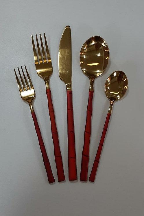 Conj. 5 Talheres em Aço Inox Dourado c/ Marsala