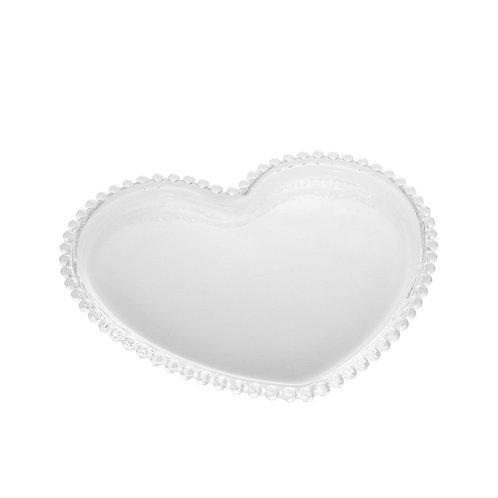 Prato de Pão em Cristal Coração Bolinhas Pearl Transparente 18x15cm Wolff