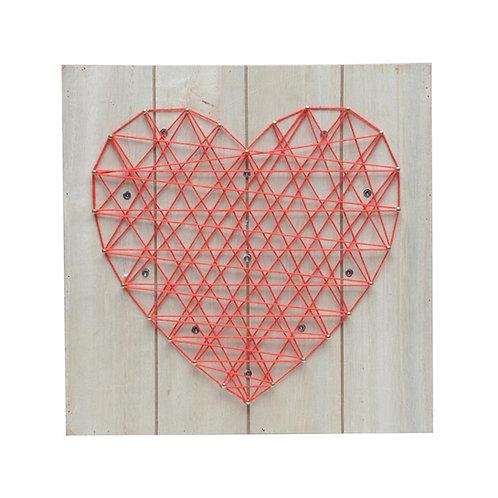 Quadro Madeira Heart Com Leds Vermelho  24x24cm
