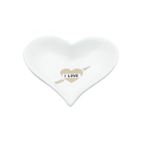 Mini Prato de Cerâmica Coração I Love Branco 12cm